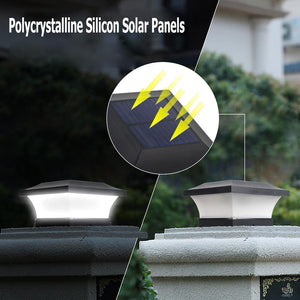 6LED Solar LED Post Lights Solar Power Fence Light IP65 Waterproof Square Black Landscape Post Cap Lamp Column Lamp Garden Decor