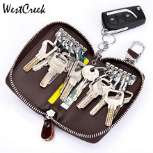 WESTCREEK Brand Oil Wax Leather Car Key Smart Wallet Zipper Key Ring Organizer Simple 12 Key Hooks Holder