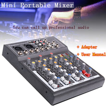 LEORY Karaoke Mixer Professional 4 Channel Studio Audio Mixing Console Amplifier Digital Mini Microphone Sound Mixer Sound Card