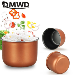 DMWD 1.2L Portable mini rice cooker small 2 layers Steamer Multifunction cooking Pot Electric insulation heating cooker 1-2 EU