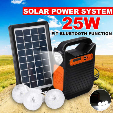 Home bluetooth USB Charger System Solar Power Panel Generator Kit +MP3 Radio+3 LED Bulbs Light Emergency Indoor Outdoor Lighting