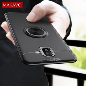 MAKAVO For Samsung Galaxy J6 Plus Case J6+ Finger Ring Holder Soft Silicone Matte Back Cover For Samsung J6 2018 Phone Cases