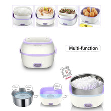 Multifunctional Electric Lunch Box Mini Rice Cooker Portable Food Heating Steamer Heat Preservation Lunch Box EU Plug