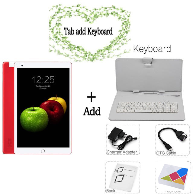 New System 10.1 inch Tablet PC 3G Phone Call Android 8.0 Wi-Fi Bluetooth 4GB/32GB Octa Core Dual SIM Support GPS PC +keyboard