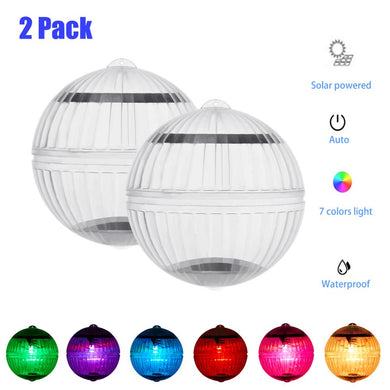 Solar LED Light Waterproof Indoor Outdoor Solar Lights For Pond  Solar Lamp Floating Ball AUTO Work For Garden Decoration 2 pcs