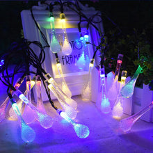 Solar Powered 30 LEDS  Water Drop Light String Garden waterproof Christmas Party Decoration Lamp Outdoor Indoor Lamps