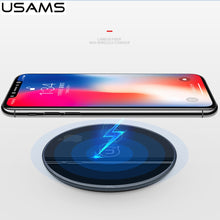 USAMS Brand Pretty Glass Qi Wireless Charger LED Indicator 10W Quick Charging For iPhone X 8 /Galaxy Note 9 S9 Phone Qi Devices