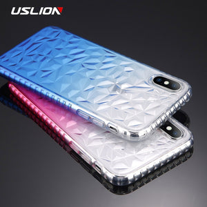 Phone Case For iPhone 8 7 Plus X Gradient Color Clear Cases for iPhone 6 6s Plus 3D Diamond Pattern Soft TPU Back Cover