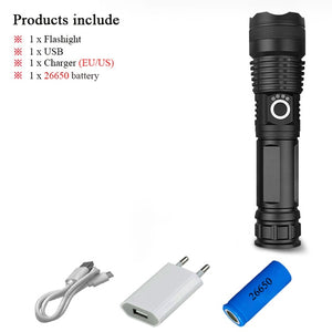 led flashlight 40000 lumens xhp50.2 most powerful flashlight 26650 usb Zoom led torch xhp50 lantern 18650hunting lamp hand light