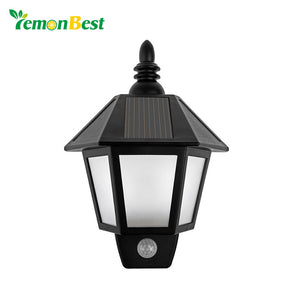 Waterproof LED Solar Light Motion Sensor Outdoor Activated Hexagonal Wall Lamp.