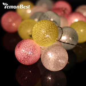 3m Colorful Cotton Ball 20-LED String Light Warm White Fairy Lamp.