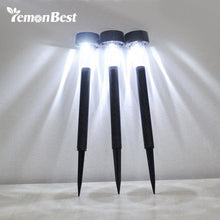 3pcs Stainless Steel Lawn Lamp LED Solar Light Outdoor Lighting.