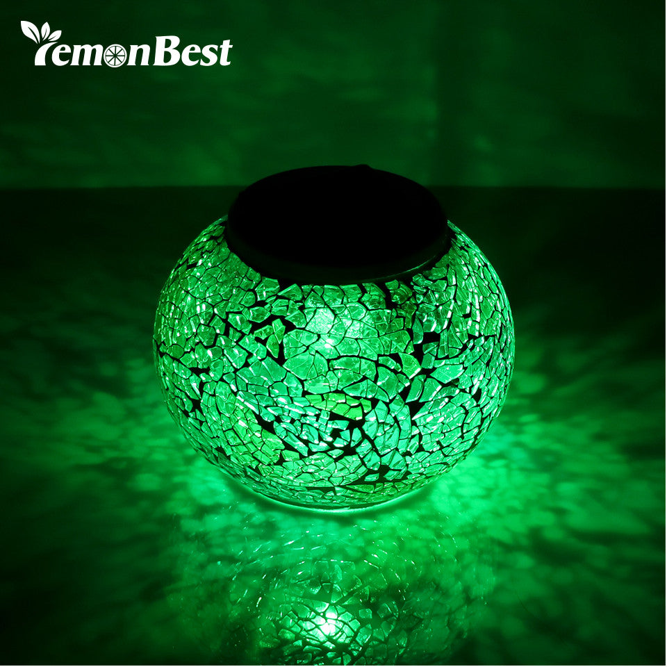 Waterproof IP65 Solar Powered LED Mosaic Glass Ball Light with RGB Color.