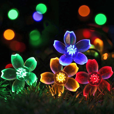 5m Solar RGB LED String Lamp Peach Flower Waterproof Fairy Lights for Wedding/Christmas Party.