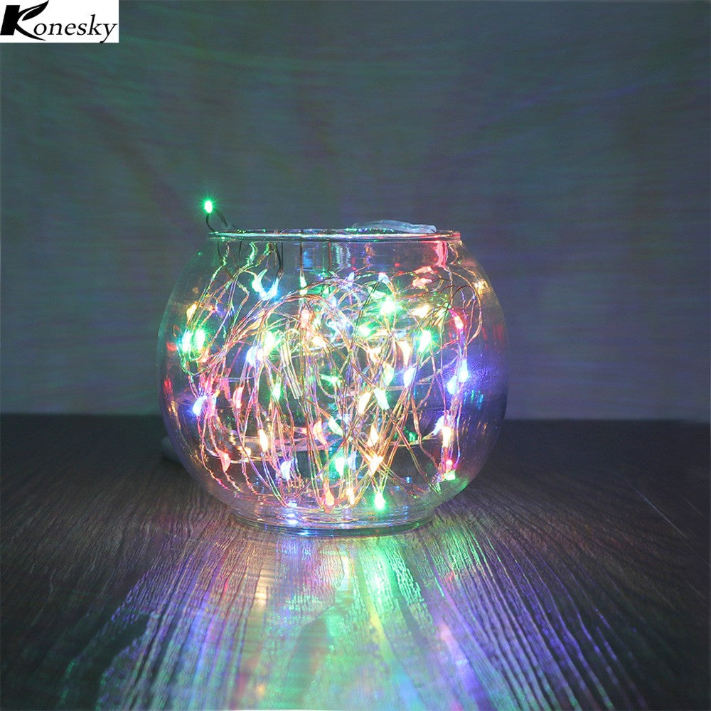 Konesky RGB Solar Lamp 100-LED Copper Wire String Light 2 Modes Auto On.
