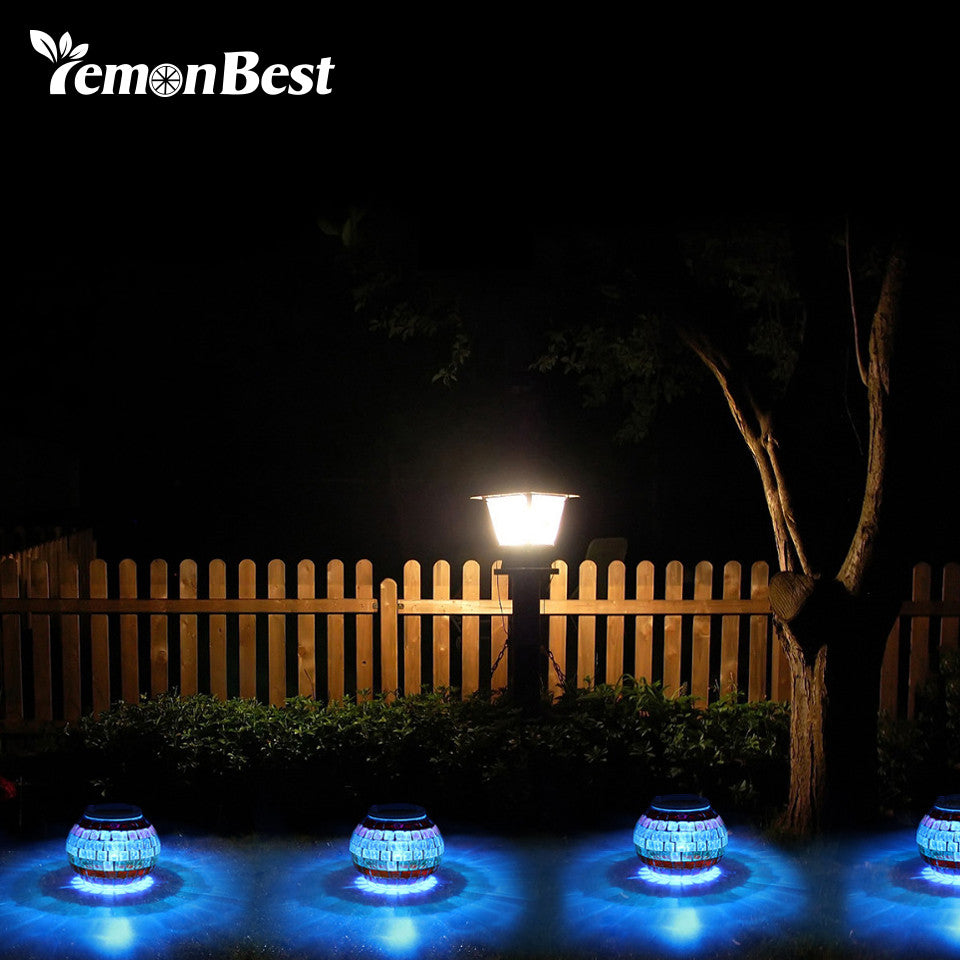 Solar Powered Mosaic Glass Ball Light LED Garden Lawn Lamp with RGB Color for Beach.