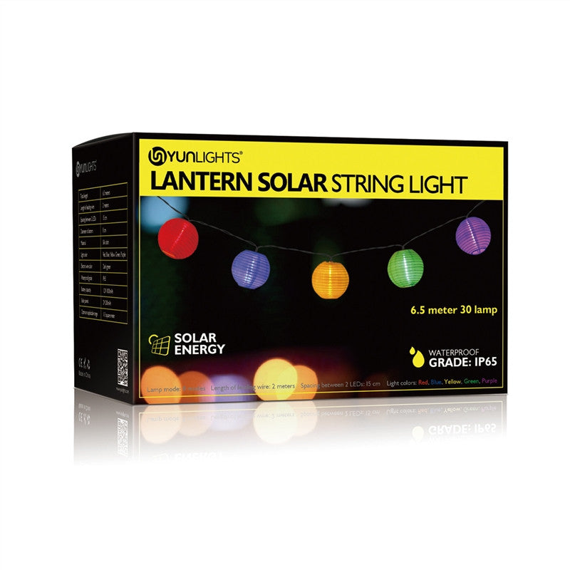 YUNLIGHTS 6.5m 30 LED Fairy Lantern Solar String Lights with 8 Lighting Modes.