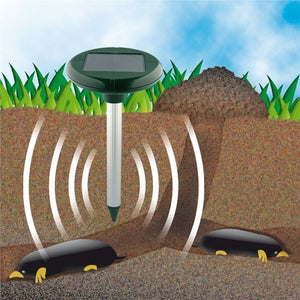Solar Powered Ultrasonic Mole Gopher Rodent Chaser Repeller
