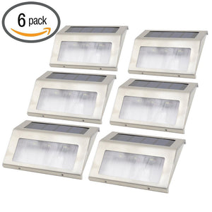 6pcs Stainless Steel Solar Bright Step Light Stairs Pathway Deck Garden Lamps (White)