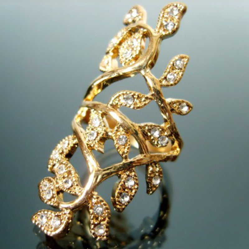 Luxury Plated Crystal Long Branch Ring.
