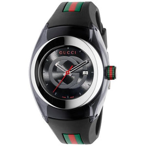 Unisex Black Swiss Sync Gucci Striped Rubber Strap Watch