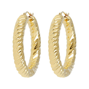 "SOAVE ORO 1-1/2"" DIAMOND CUT ROUND HOOP EARRINGS - WSRE00088 front and side"