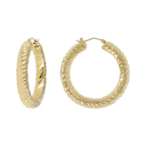 "SOAVE ORO 1-1/2"" DIAMOND CUT ROUND HOOP EARRINGS - WSRE00088"