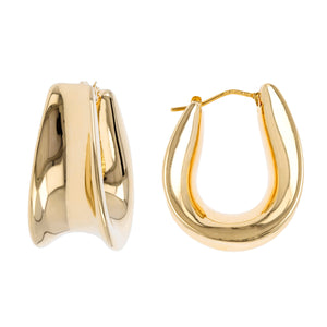 ALLONGE CONCAVE HOOP EARRINGS - WSRE00016 front and side