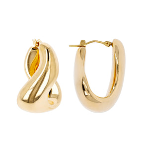 BOLD CURVILINEAR DANGLE HOOP EARRINGS - WSRE00011 front and side