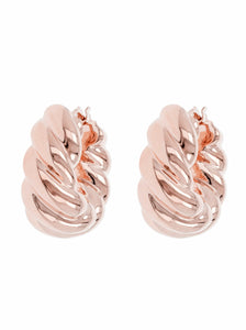 BRAID TWIST HUG HOOP EARRINGS - WSRE00017 front and side
