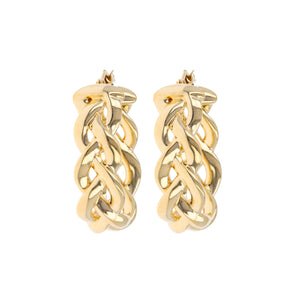 BRAIDED OVAL HOOPS EARRINGS - WSRE00044 front and side