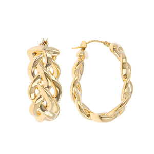 BRAIDED OVAL HOOPS EARRINGS - WSRE00044