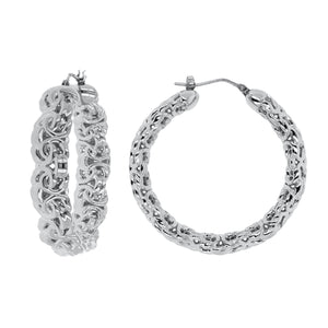 BYZANTINE HOOP EARRINGS - WSRE00007 front and side
