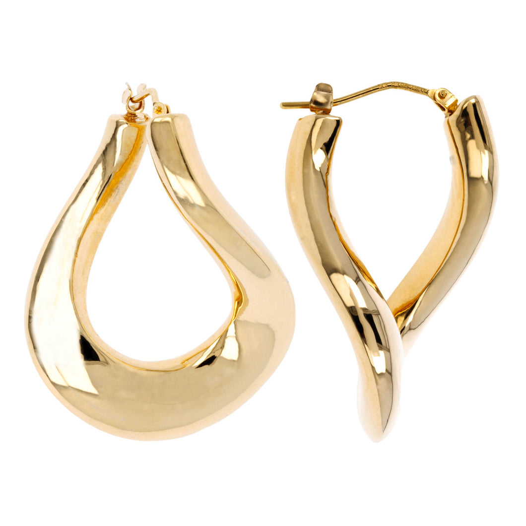 CURVILINEAR DANGLE HOOP EARRINGS - WSRE00010 front and side