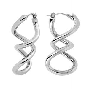 DOUBLE TWIST DANGLE EARRINGS - WSRE00009 front and side