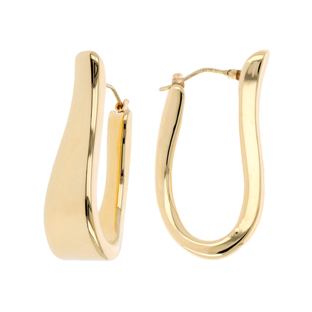 ELONGATED OVAL HOOP EARRINGS - WSRE00012 front and side