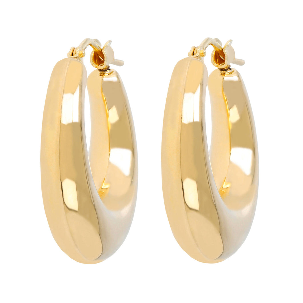 HIGH POLISHED BOLD HOOP EARRING - WSRE00067 front and side