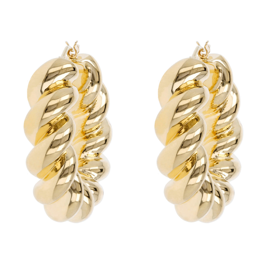 ICONIC TWIST ROPE HOOP EARRINGS - WSRE00019 front and side