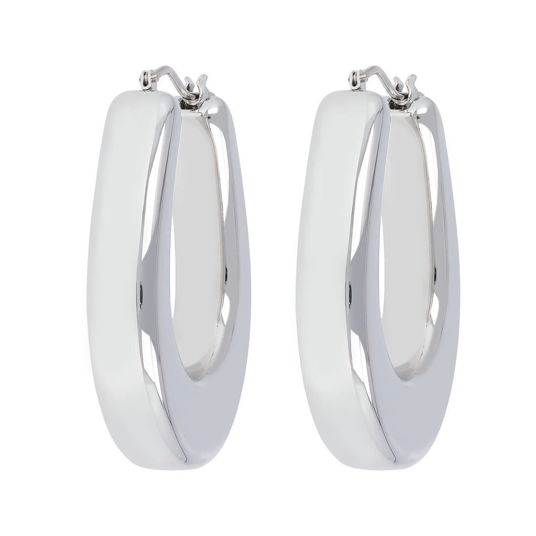 MODERN OVAL HOOP EARRINGS - WSRE00087 front and side