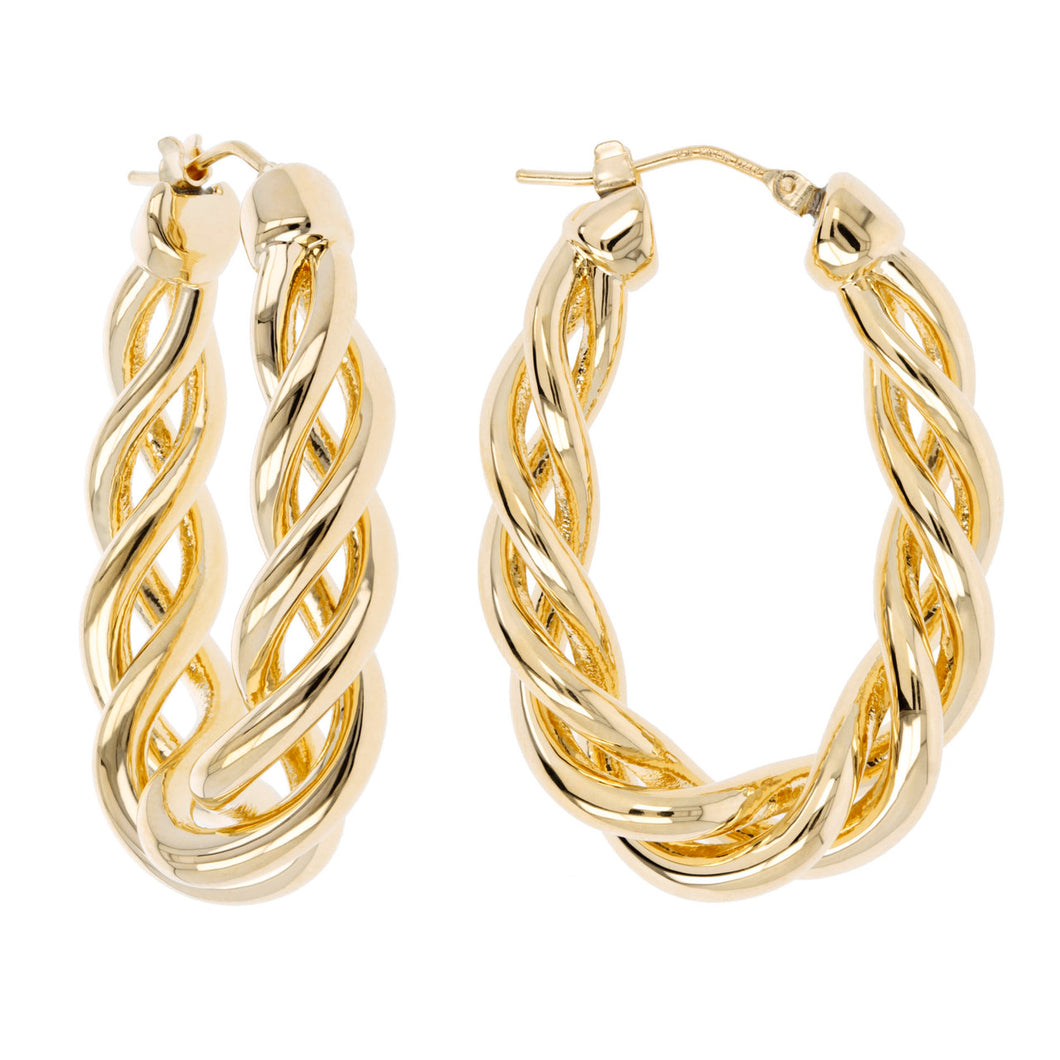 OPEN BRAID OVAL HOOP EARRINGS - WSRE00023 front and side