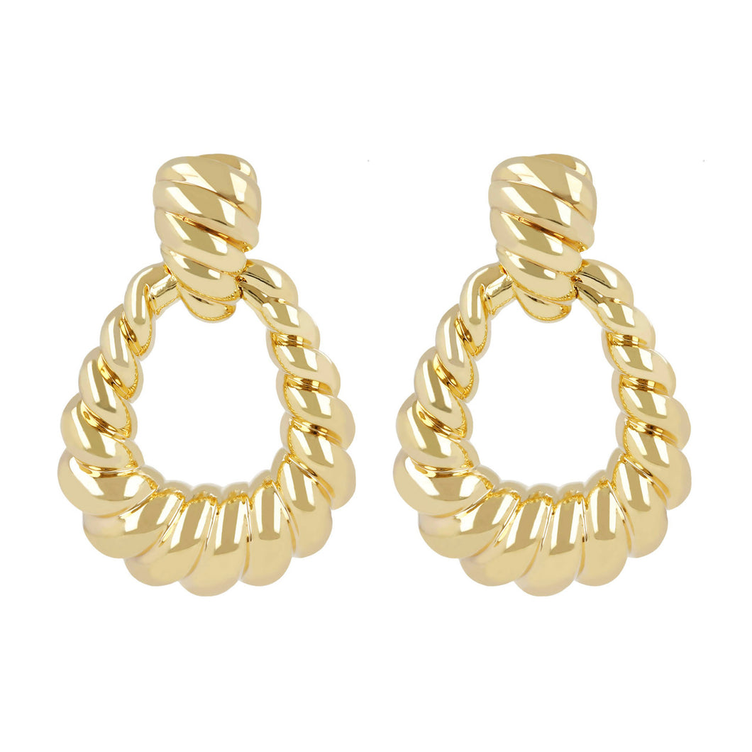 OVAL DROP DANGLING EARRINGS  - WSRE00065 front and side