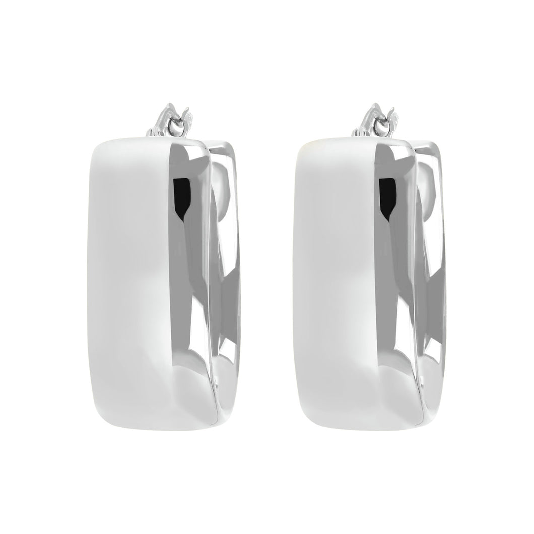 OVAL FLAT TUBE HOOP EARRINGS - WSRE00089 front and side