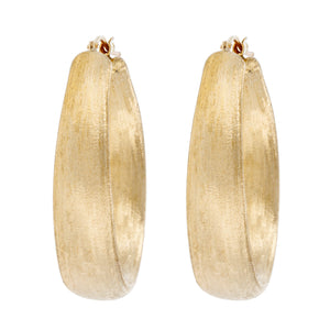 SATIN OVAL HOOP EARRINGS - WSRE00014 front and side