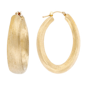 SATIN OVAL HOOP EARRINGS - WSRE00014