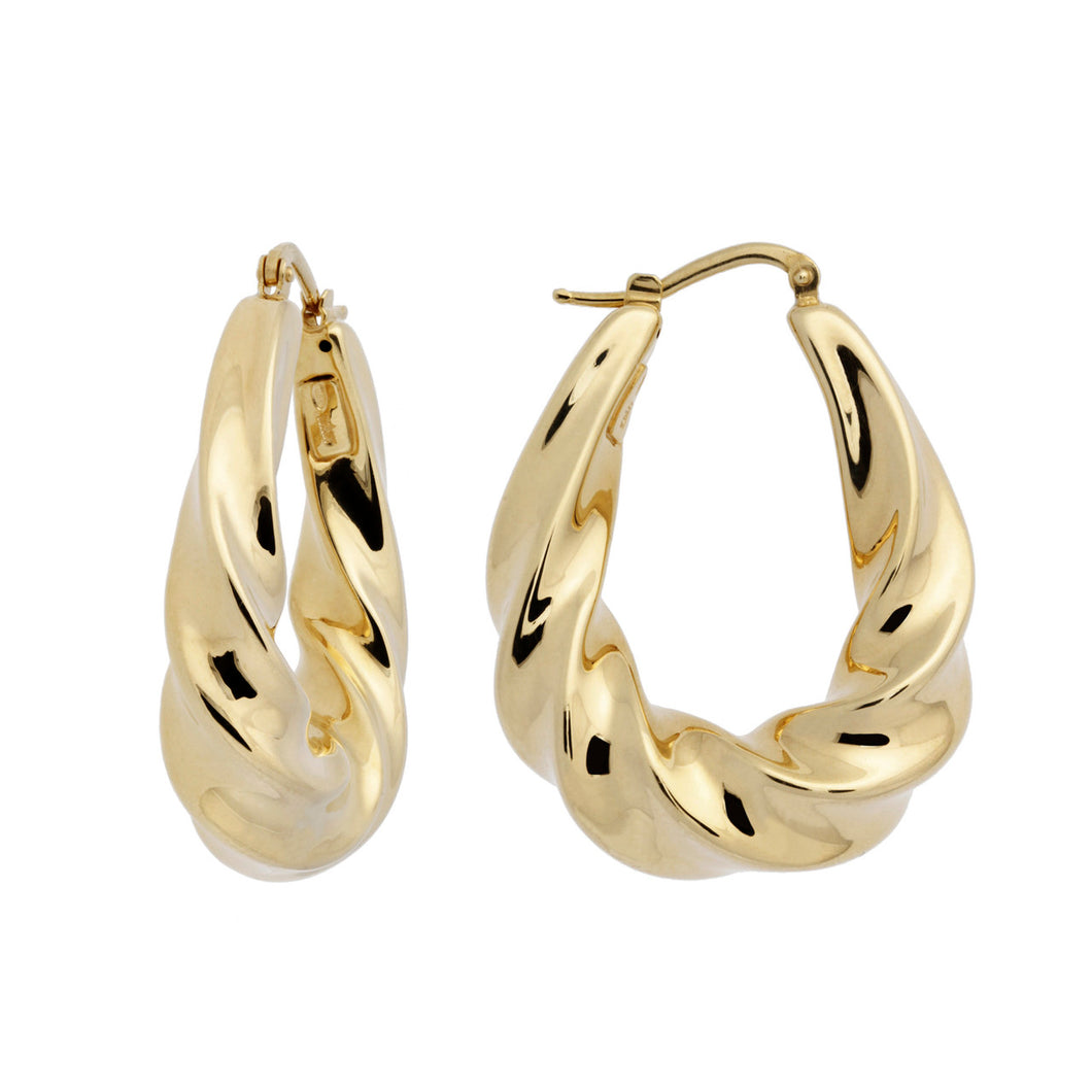 SCULPTURAL TWIST OVAL HOOP EARRINGS - WSRE00021 front and side