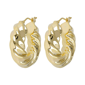 SCULPTURAL TWISTED HOOP EARRINGS - WSRE00086 front and side