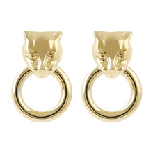 SHINY PANTER ROUND EARRING - WSRE00078 front and side