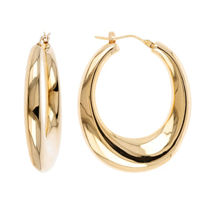 SLENDER BOMBE' OVAL HOOP EARRINGS - WSRE00015 front and side