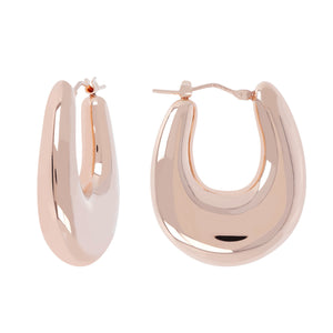 SOAVE ORO BOMBE' OVAL HOOP EARRINGS - WSRE00116 front and side