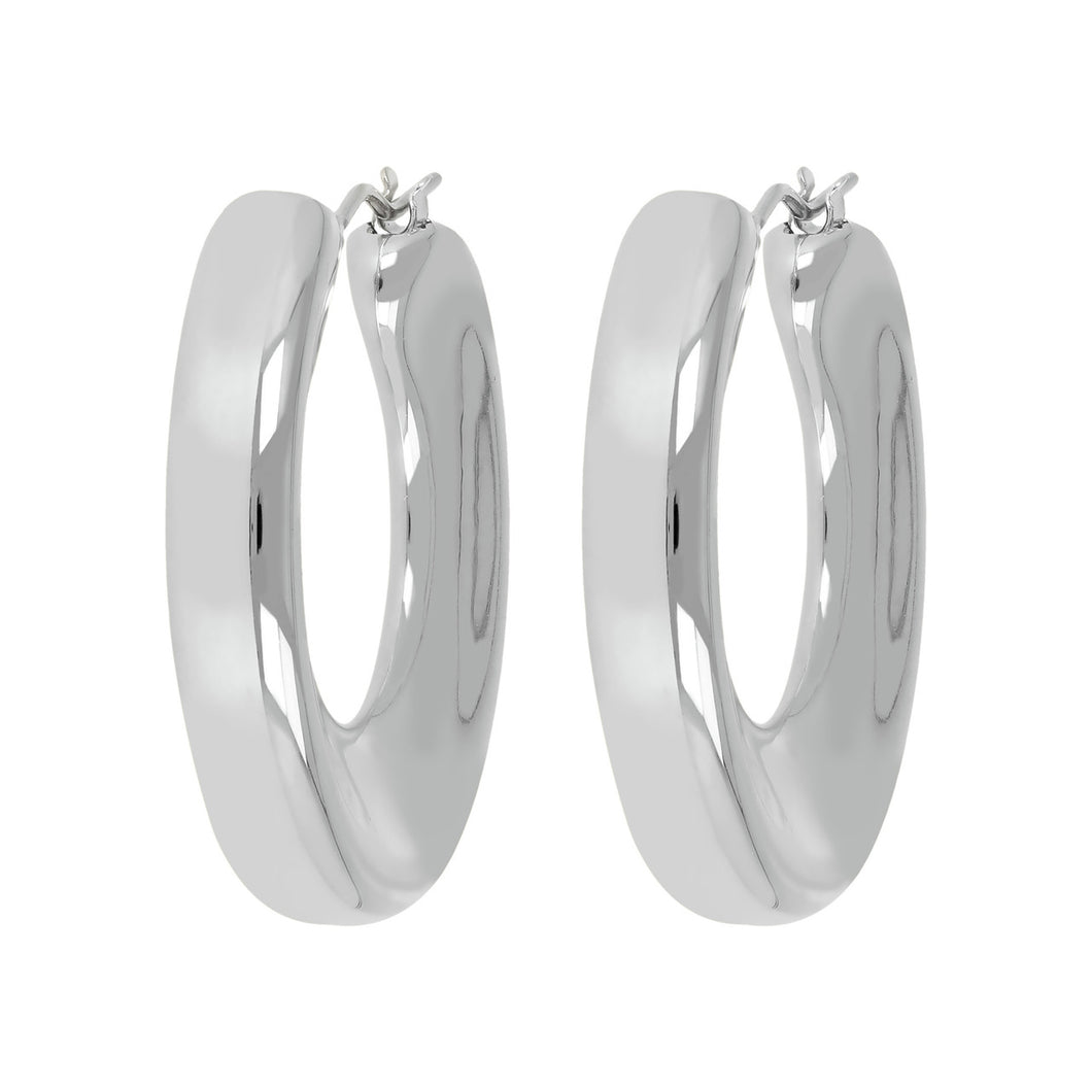 STRIKING CONCAVE HOOP EARRINGS - WSRE00111 front and side